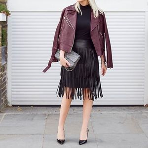 BCBGMAXAZRIA Faux Leather Black Fringe Skirt